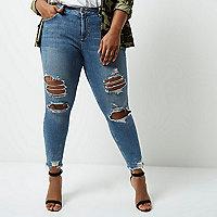 Plus – Alannah – Blaue Skinny Jeans mit Fransensaum