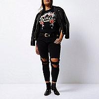 Plus – Alannah – Jean skinny décontracté noir