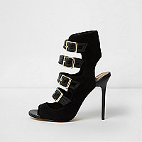 Black multi buckle strap sandals