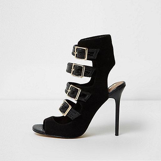 Sandales noires à brides et boucles