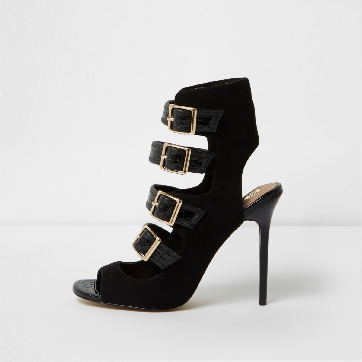 Black multi buckle strap sandals
