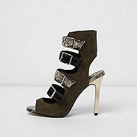 Khaki multi buckle strap sandals