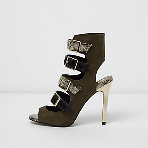 Khaki multi buckle strap sandals