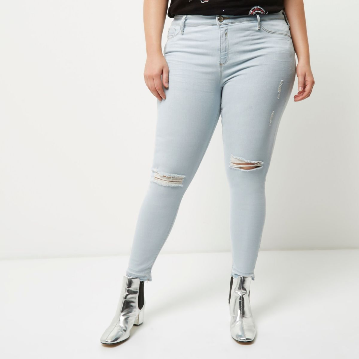 Plus light blue ripped Molly jeggings