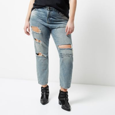 RI Plus Ashley Blauwe wash ripped boyfriend jeans