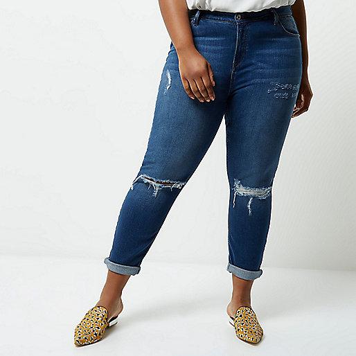 Plus blue wash mom jeans