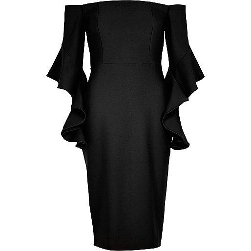 Black frill sleeve bardot bodycon dress