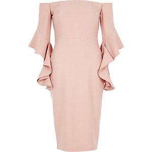 Pinkes Bodycon-Kleid mit Schulterausschnitt