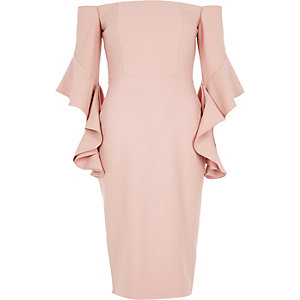 Pink bardot bell sleeve bodycon dress