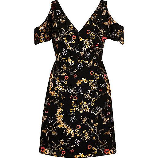 Black floral print cold shoulder dress