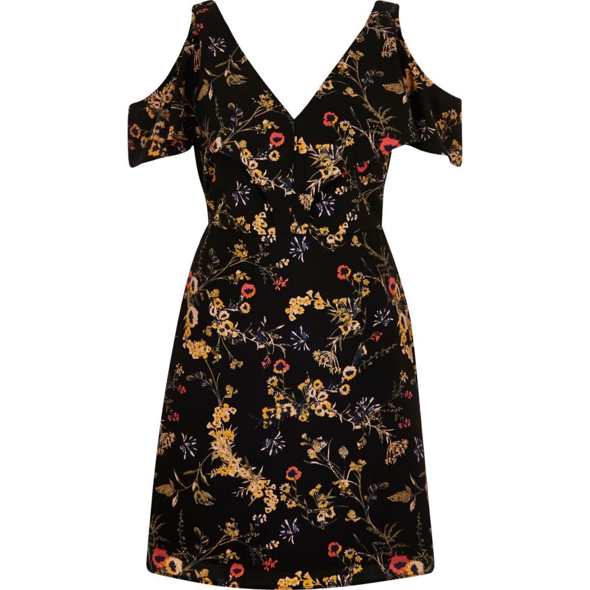 Zwarte schouderloze jurk met bloemenprint