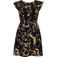 Black floral print frill sleeve dress