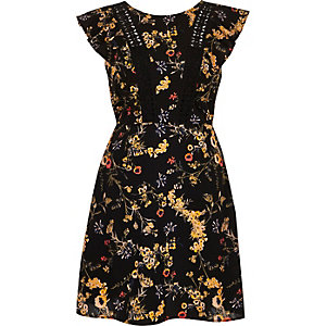 Black floral print frill sleeve dress