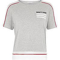 Grey marl mesh panel text print T shirt