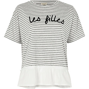Grey stripe 'les filles' print loose T-shirt
