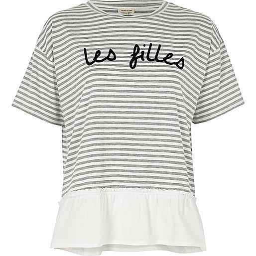Grey stripe 'les filles' print loose T-shirt