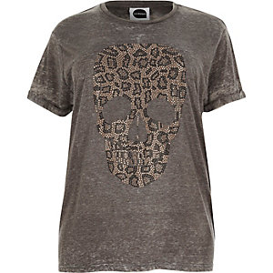 Plus grey leopard skull boyfriend T-shirt