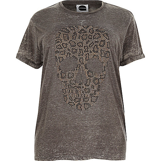 Plus grey leopard skull boyfriend T-shirt