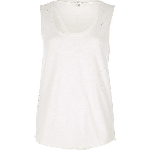 Cream distressed tank top with cut out detail