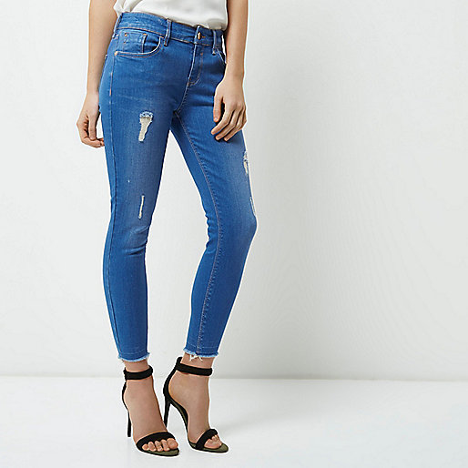 Petite bright blue Amelie super skinny jeans