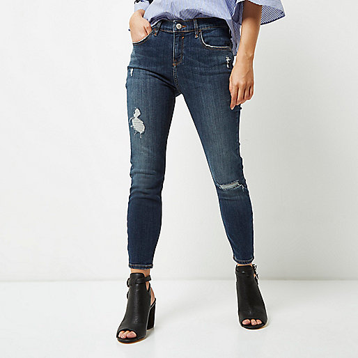 Petite dark blue distressed Amelie jeans