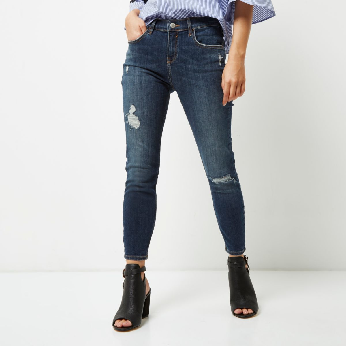 Petite dark blue distressed Amelie jeans