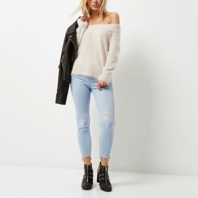 RI Petite Amelie Lichtblauwe superskinny jeans