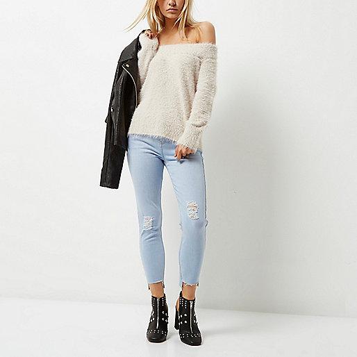 Petite light blue Amelie super skinny jeans