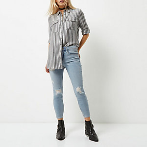 Amelie – Hellblaue Superskinny Jeans, Petite