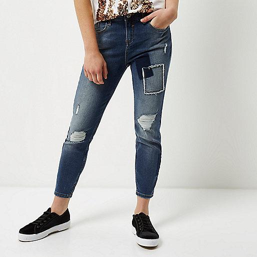 Petite blue patch Amelie super skinny jeans