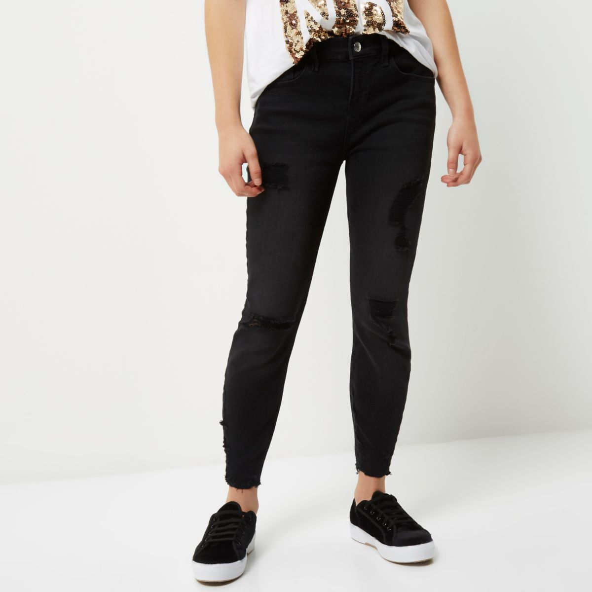 Petite black ripped Amelie super skinny jeans
