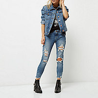 Petite mid blue cropped Alannah skinny jeans