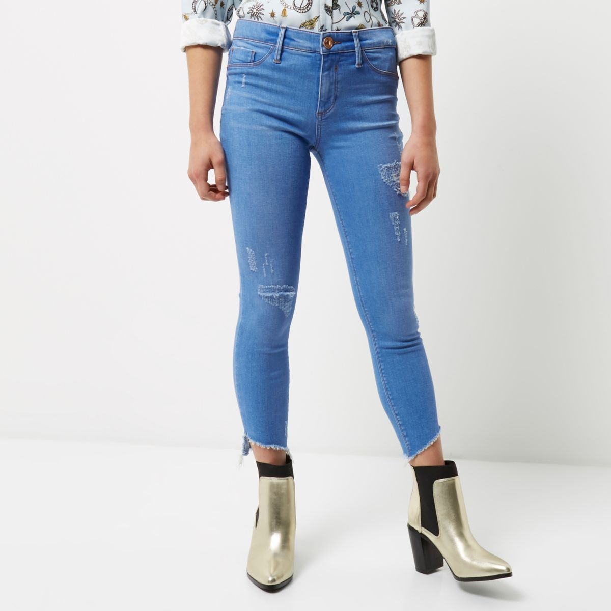 Petite bright blue Molly jeggings