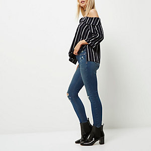 Party-Jeggings in mittelblauer Waschung, Petite