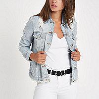 Veste oversize en jean bleu clair déchirée