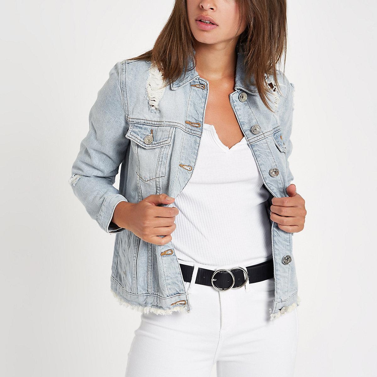 Light blue oversized ripped denim jacket