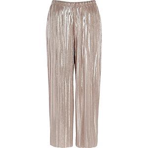 Pink metallic plisse culottes