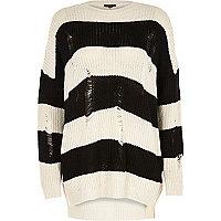 Black stripe ribbed knit jumper