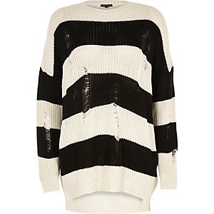 Black stripe ladder knit sweater