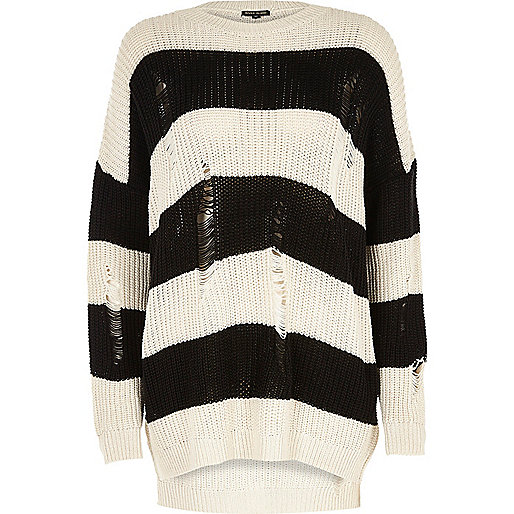 Black stripe ribbed knit sweater