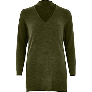 Khaki green knit choker top
