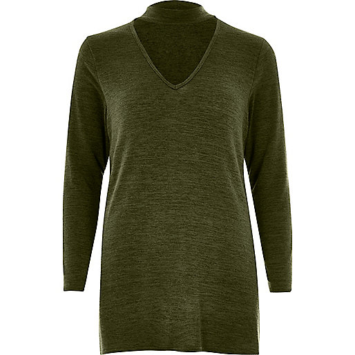 Khaki green knit choker top