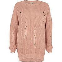 Light pink ribbed knit sweater