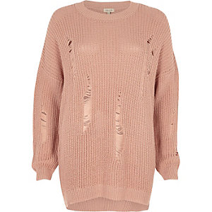 Light pink ladder knit sweater