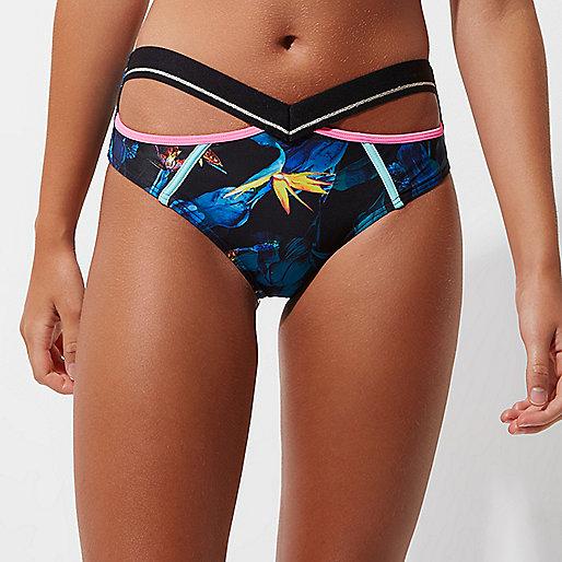 Black tropical high waisted bikini bottoms