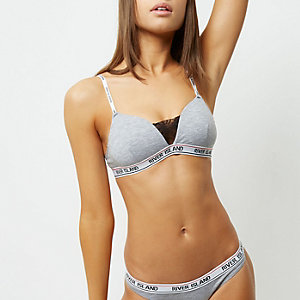 Grey marl sporty branded bra