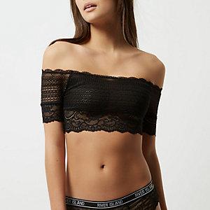 Schwarzes Bardot-Oberteil aus Spitze