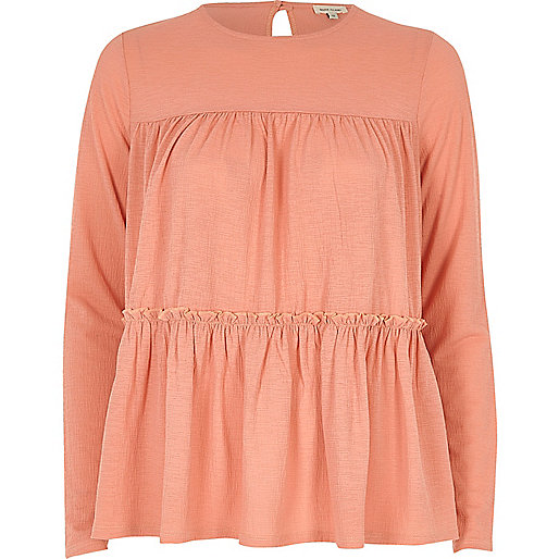 Dark pink tiered smock top