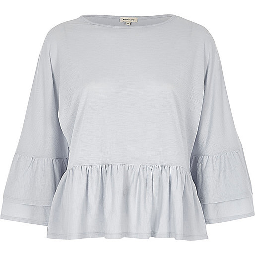 Light blue double frill top