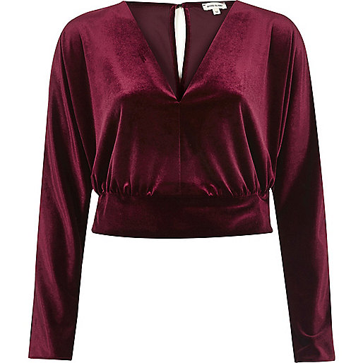 Dark red velvet long sleeve crop top